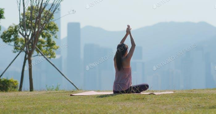 Woman do yoga at outdoor