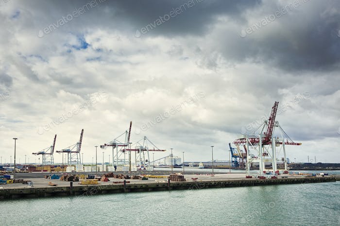 Cranes at Seaport, Dunkirk, France, Europe