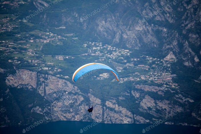 Paraglider over lake Garda