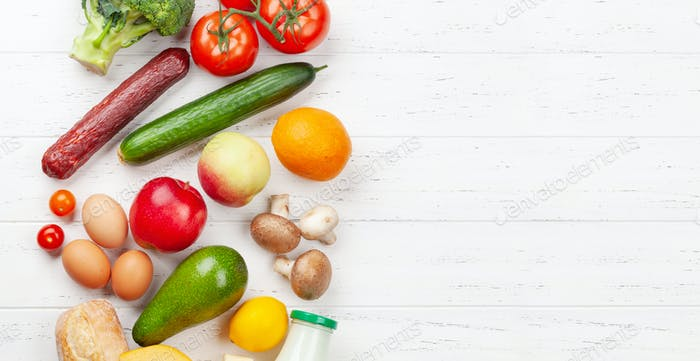Various food. Vegetables, fruits and bread