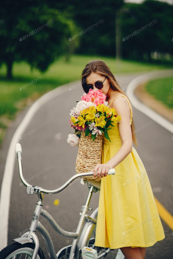 pretty girl with bicycle
