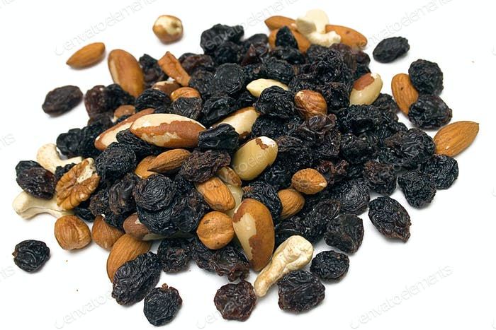 Trail Mix Heap Isolated on a White Background