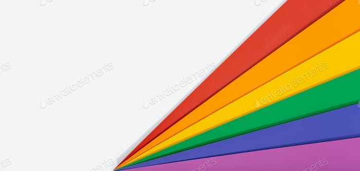 Rainbow flag banner background with copy space