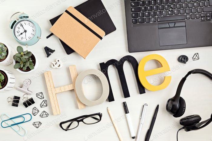 Stationary and office supplies, home office desktop organisation, online business, work from home