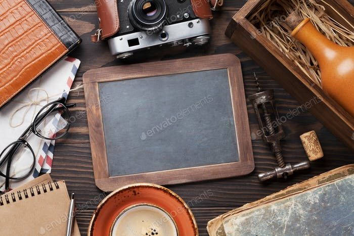 Retro table with vintage items