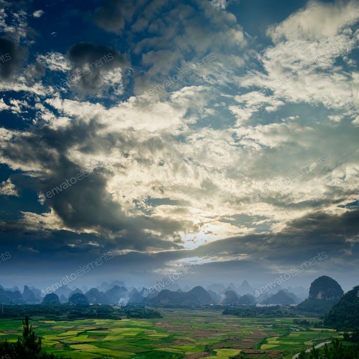 Ländliche Landschaft in Guilin