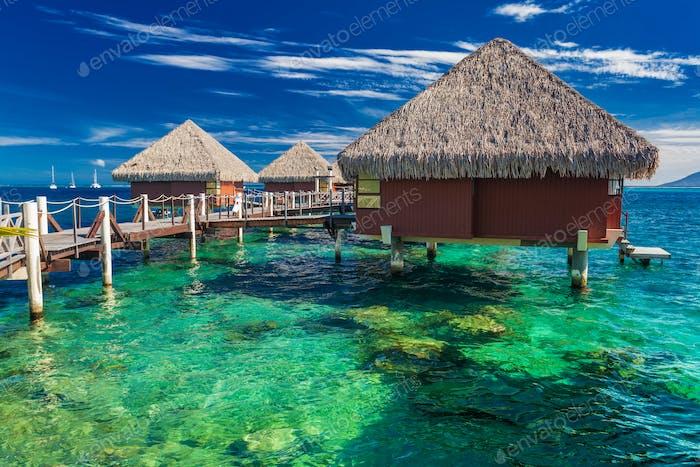 Overwater Bungalows mit besten Strand zum Schnorcheln, Tahiti, Poly