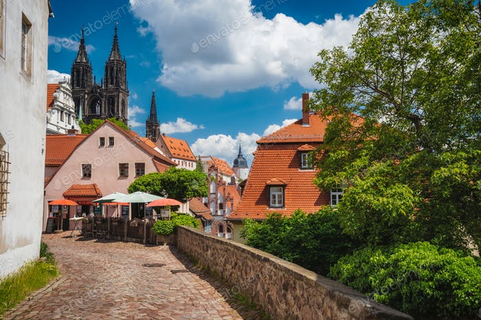 Meissen fable like old town with Albrechtsburg Castle. town Medieval buildings with orange tiled