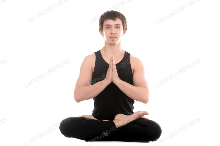 Lotushaltung mit Handflächen in Namaste