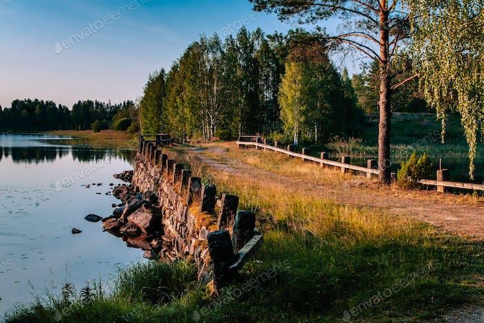 Old stone bridge in summer Finland