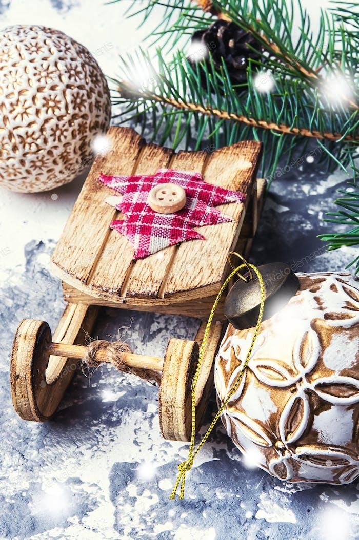 Symbolischer Weihnachtsschlitten