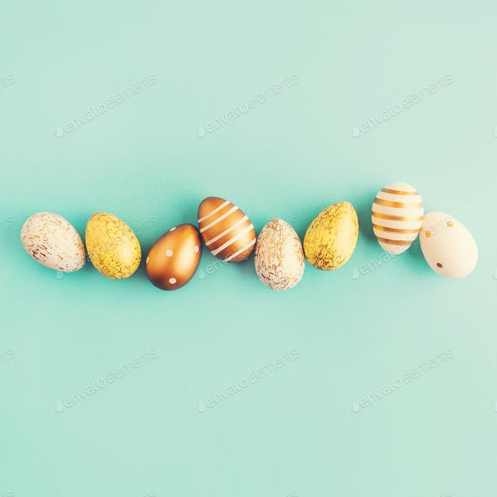 Easter Flat Lay of Eggs on turquoise