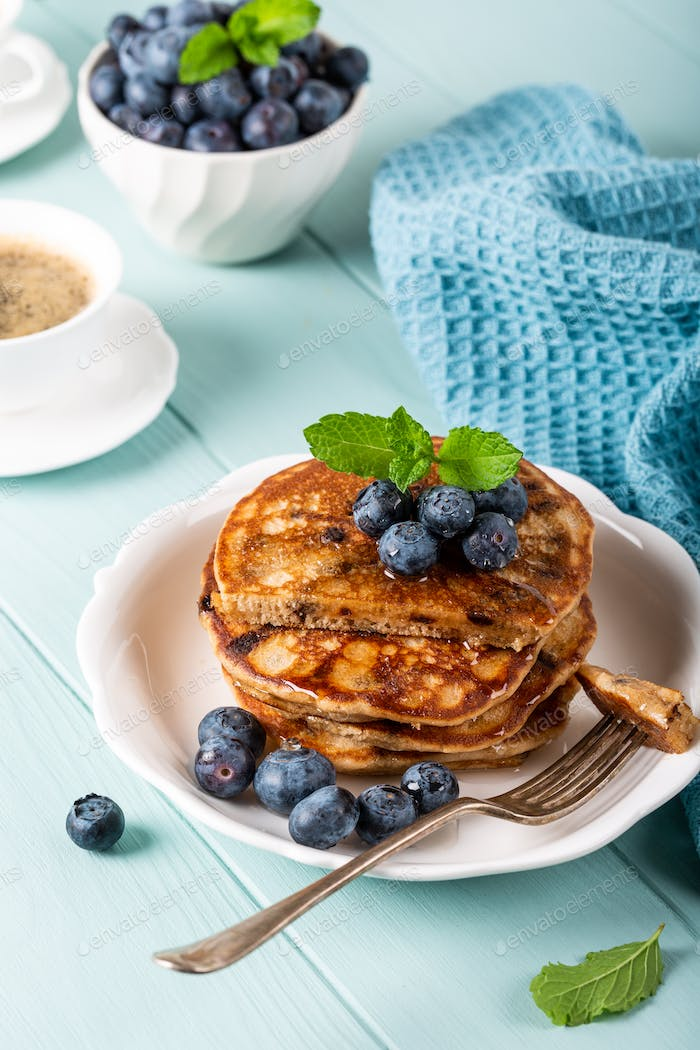 Delicious pancakes with chocolate drops