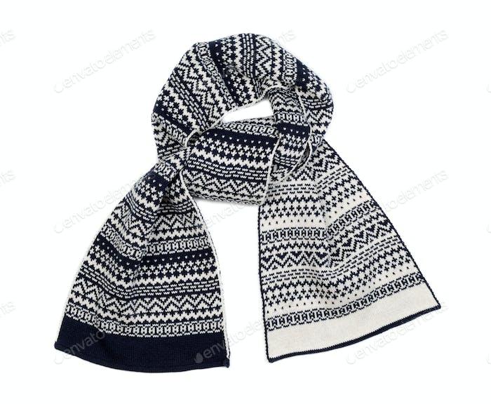Striped knitted woollen scarf