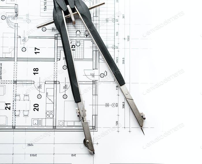 Trennwände auf dem architektonischen Projekt