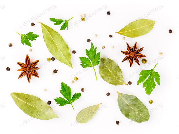 Set of spices on white background, top view. Seasonings for meat broth
