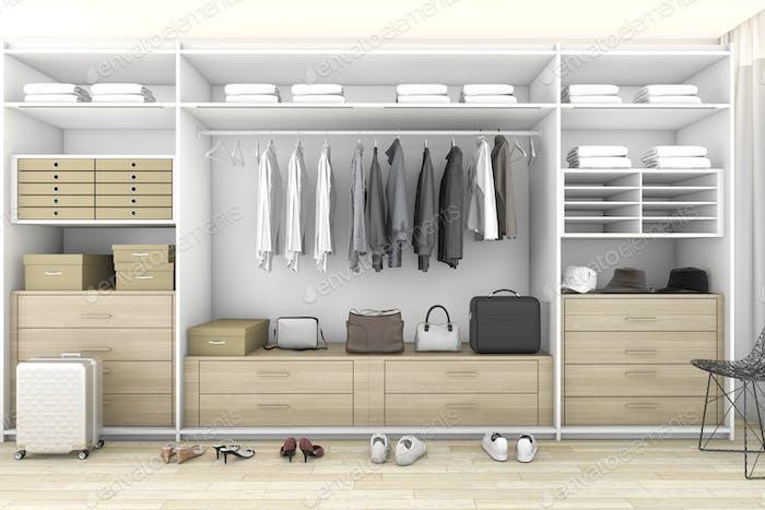 3D representación mínima de madera caminar en el armario con armario