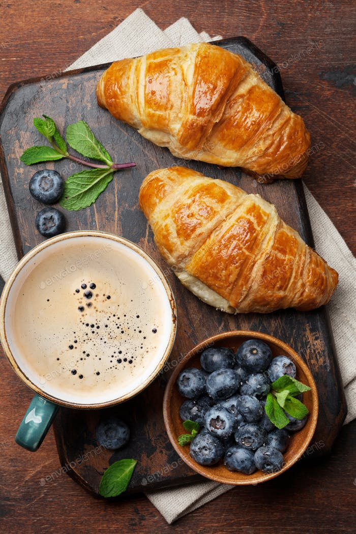 Coffee and croissants breakfast