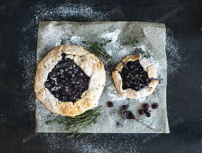 Homemade crusty blueberry pie or galette with ice-cream