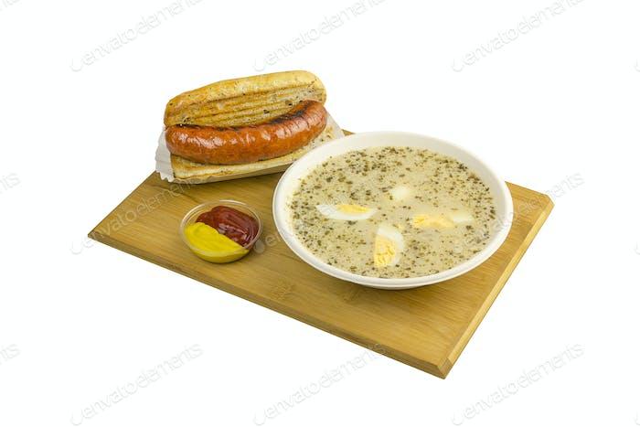 Sour rye soup and sausage