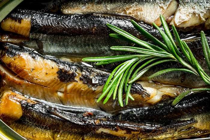 Sprats flavored with rosemary.