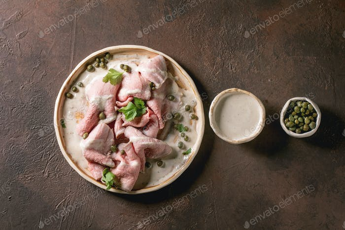 Vitello tonnato sliced veal