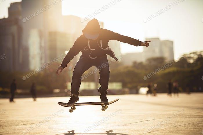 skateboarding at sunset city