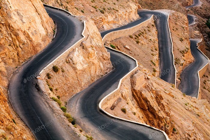 Very windy road up the rocky Atlas mountains from the Dades Valley, Morocco