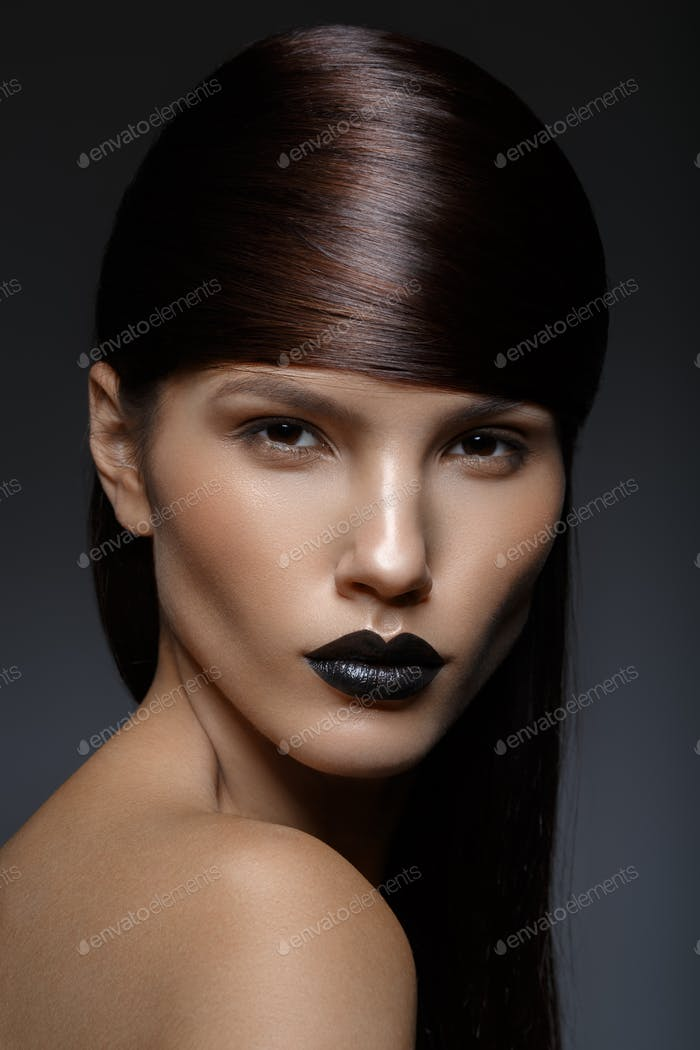 beautiful girl with black lips