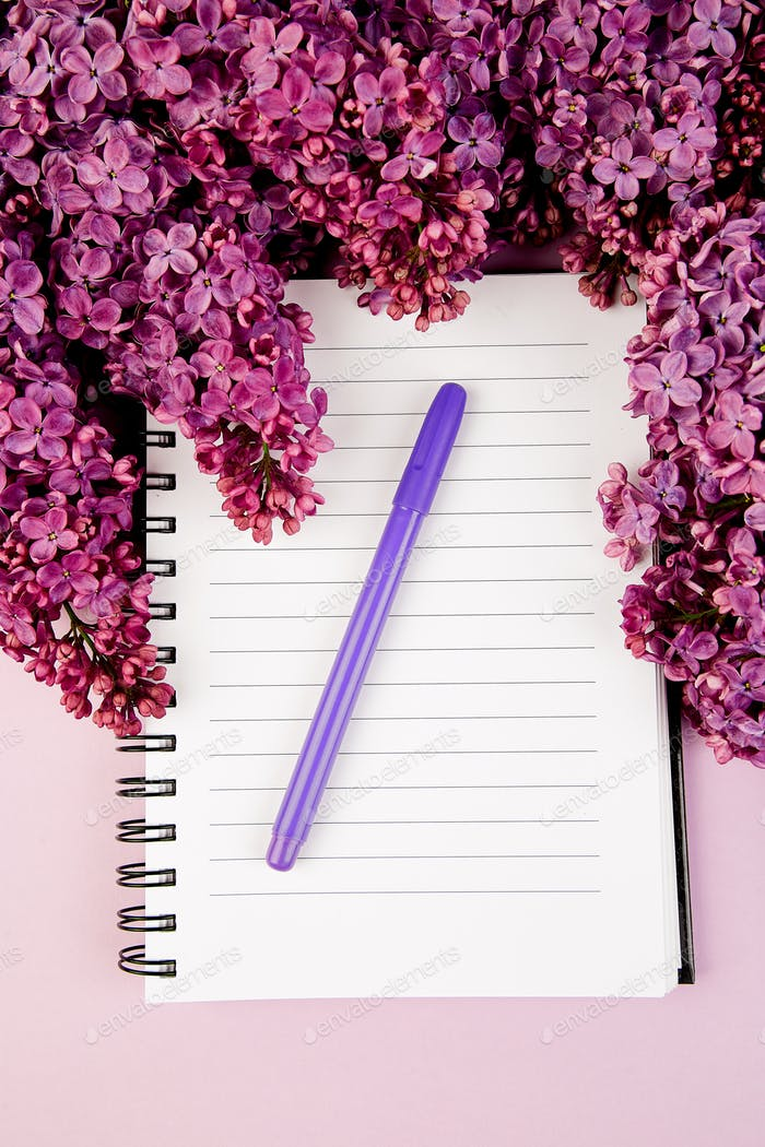 Diary and bouquet  lilac