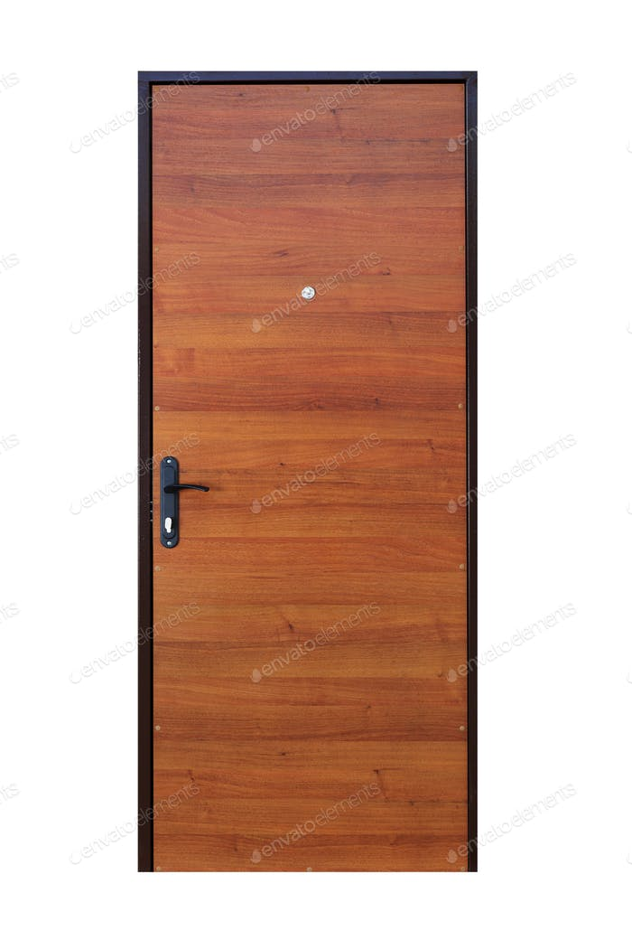 Brown wood veneer closed door isolated on white
