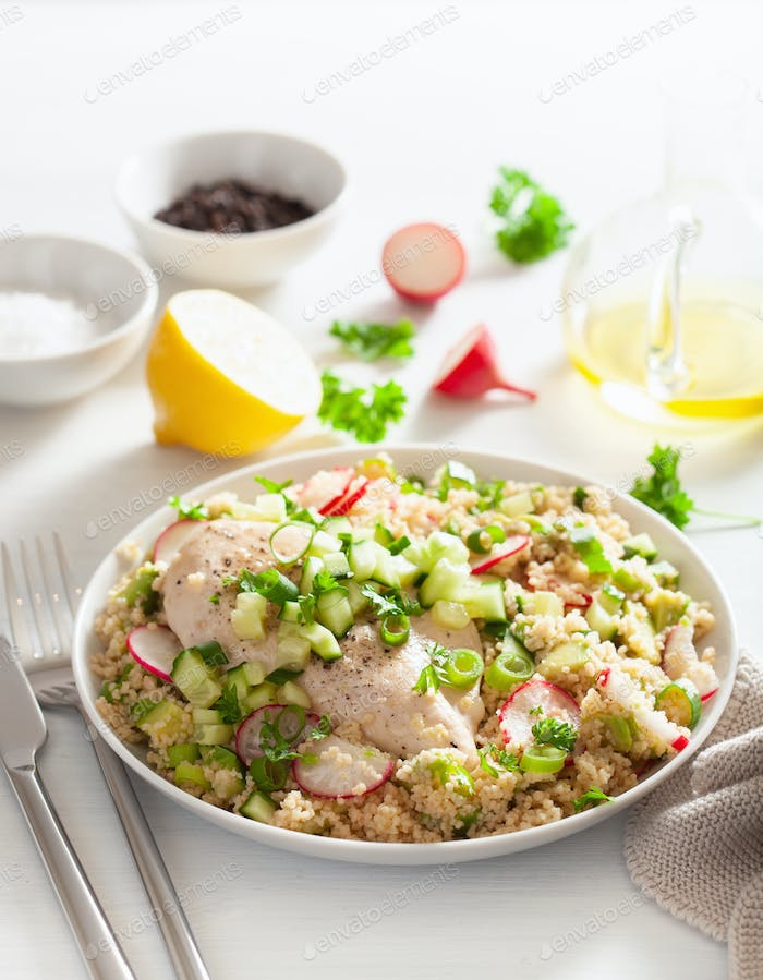 chicken breast with couscous, cucumber, avocado, spring onion, radish. healthy lunch