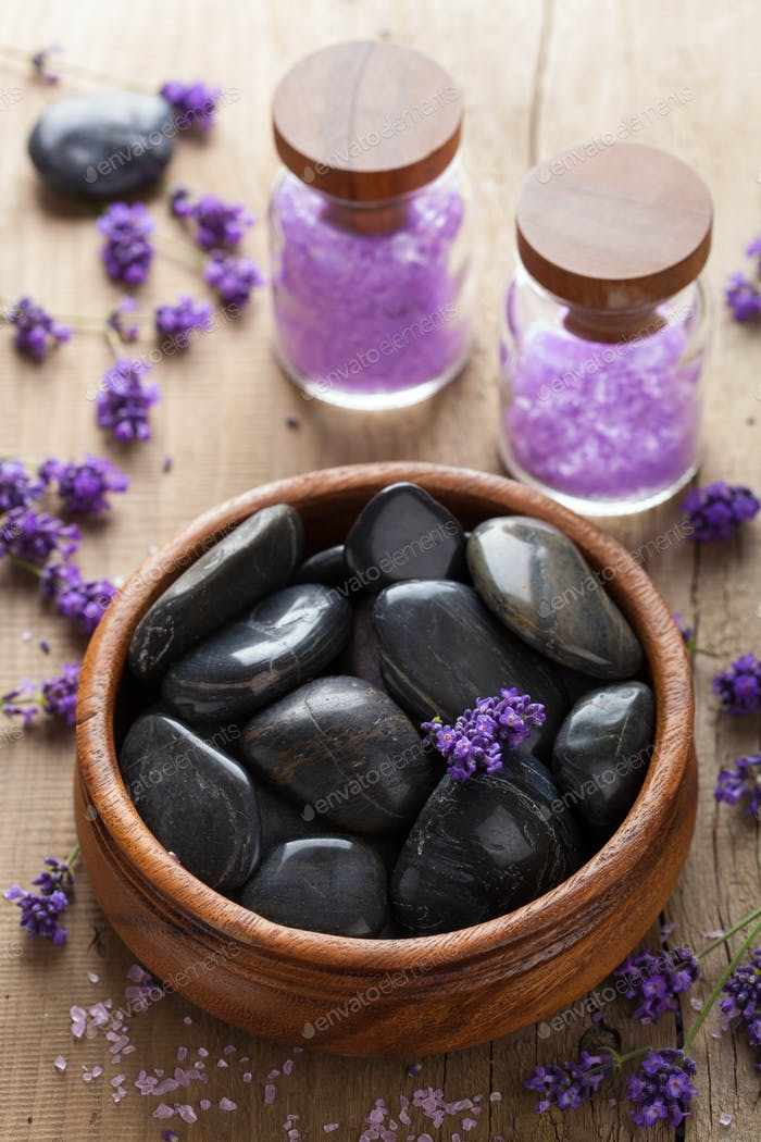 spa stones salt and lavender
