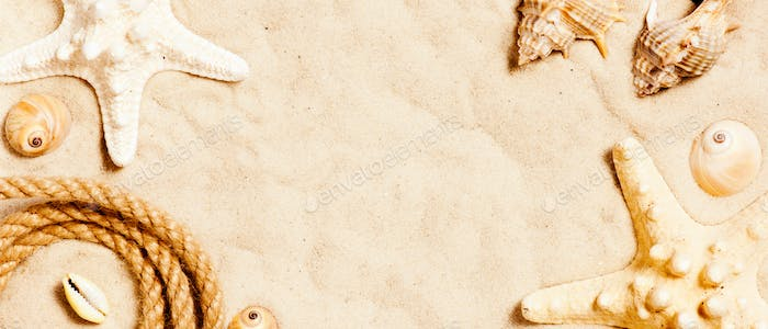 Banner with Seashells and Rope on the Sand