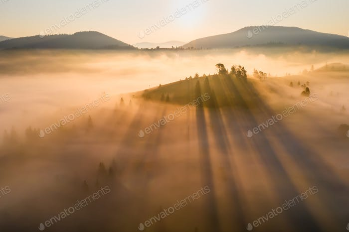 Misty dawn in the mountains. Beautiful landscape