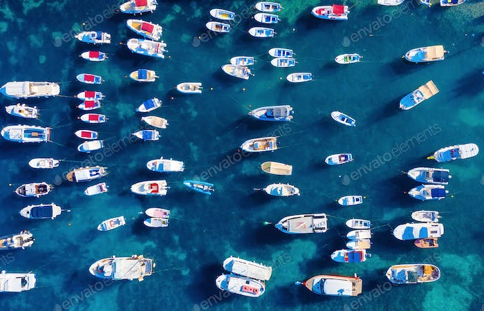 Boats in the bay. View from the air