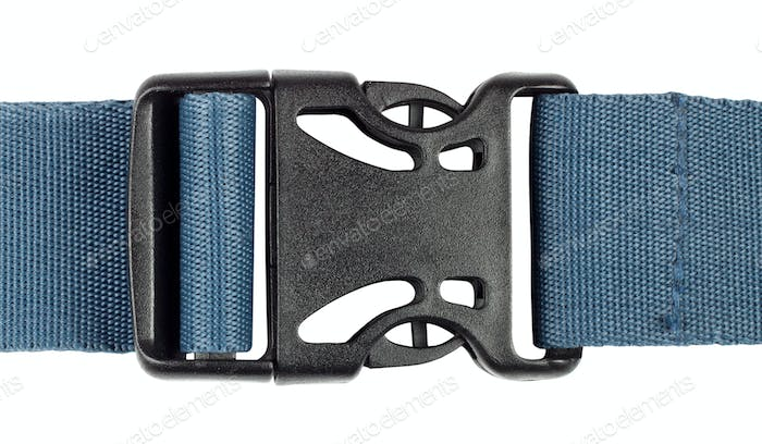 Plastic buckle with a blue belt
