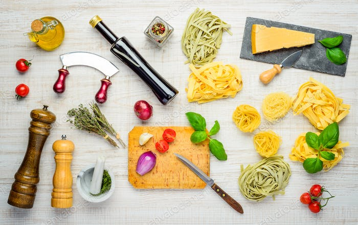 Mediterranean Cuisine with Tagliatelle, Parmesan and Seasonings