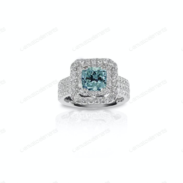 Blue Topaz Aquamarine Beautiful Diamond Engagement bridal wedding ring.
