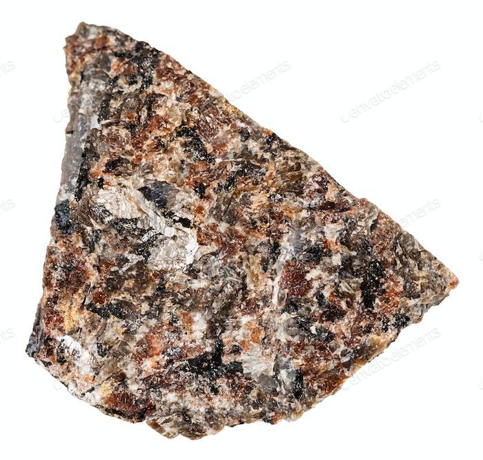 raw spreusteined urtite stone isolated on white
