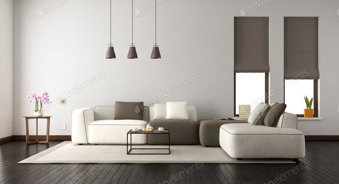 White living room with elegant sofa