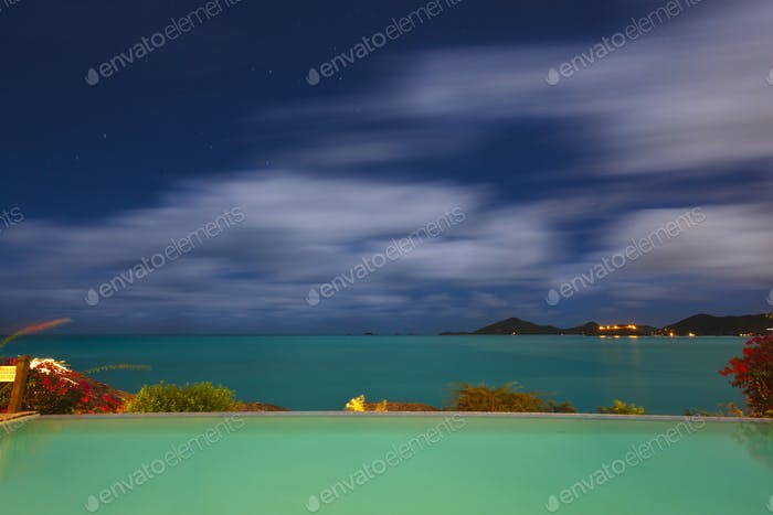 Pool And Caribbean Sea At Night, Antigua