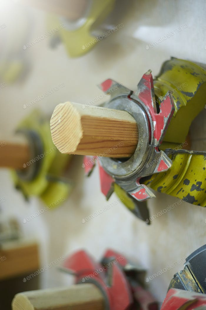 Carpenter saws in a woodworking workshop