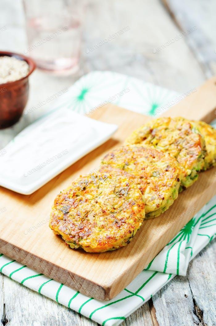 Quinoa Zucchini feta dill fritters