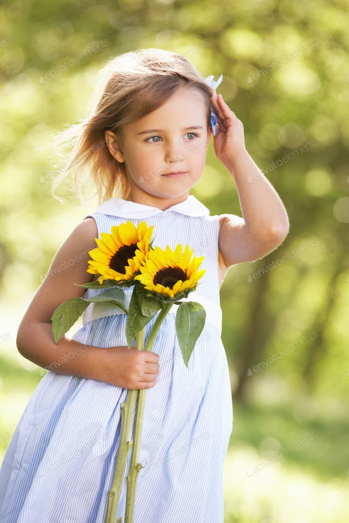 Young Girl Walking Through Summer Field Holding Sunflower