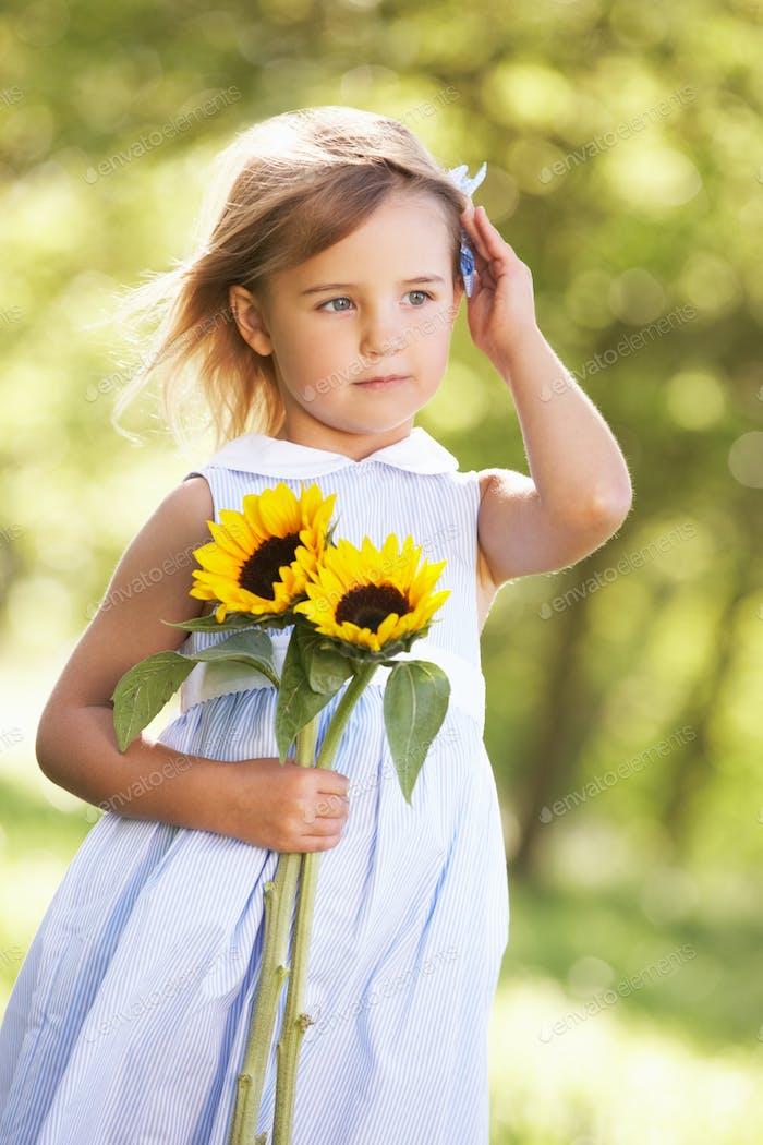 Young Girl Walking Through Summer Field Holding Sunflower