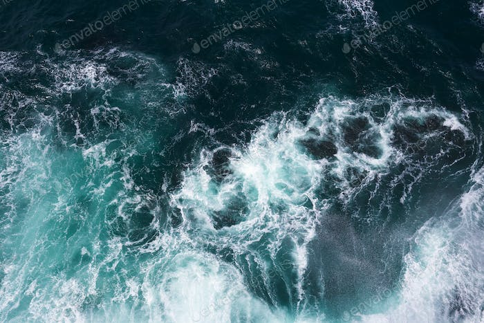 Aeril View on Ocean Waves and Foam.