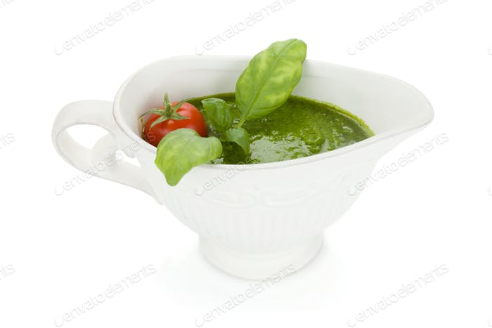 Pesto sauce and cherry tomato
