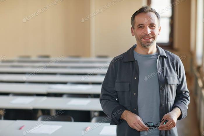 Smiling college professor