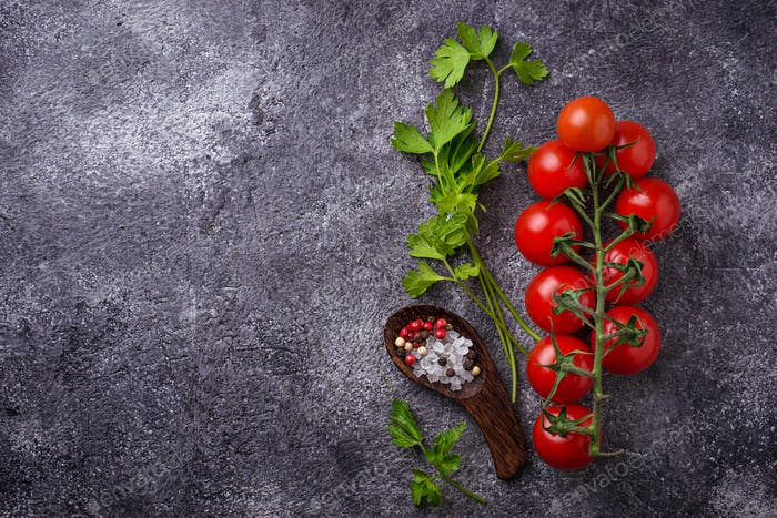 Cherry tomatoes, parsley and salt